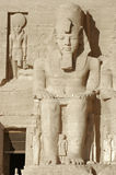 Ramesses at Abu Simbel temples in Egypt. Architectural detail of the historic Abu Simbel temples in Egypt (Africa) including a huge stone sculpture of Ramesses Stock Photo
