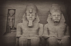 Ramesses the Great. Two of the four seated statues of Ramesses II at Abu Simbel, Egypt, Middle East, North Africa Royalty Free Stock Photography
