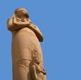 Ramesses II statue over blue sky stock photos