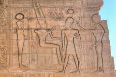 Ramesseum in Luxor: Farao die op de muur wordt gesneden Stock Foto