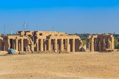 Ramesseum is mortuary temple of Pharaoh Ramesses II. `Ramesses the Great`, also spelled `Ramses` and `Rameses`. Located in Theban necropolis in Upper Egypt stock photo