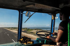 Indian truck driver inside the cockpit Royalty Free Stock Images