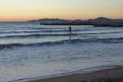 Rameur sur la mer Méditerranée Photographie stock libre de droits