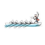 Rameurs de bateau de concept d'affaires de travail d'équipe de chef Image stock