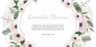 Ramgränsbakgrund Blom- gifta sig kort med den ros-, anemon- och eukalyptusfilialen royaltyfri illustrationer