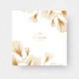 Rami del ginkgo biloba con le foglie Il ginkgo dorato si ramifica per gli inviti, le cartoline d'auguri di nozze, etichette Fotografia Stock Libera da Diritti