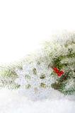 Rami dell'albero di Natale con il fiocco della neve Immagine Stock