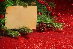 Rami dell'albero di Natale con la nota in bianco Fotografia Stock