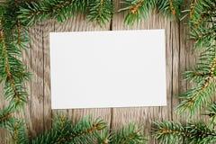 Rami di albero dell'abete e cartolina d'auguri Immagine Stock Libera da Diritti