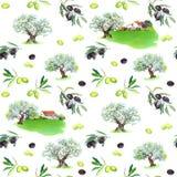 Rami di ulivo, di olivi, case provencal Modello senza cuciture francese Acquerello della Provenza illustrazione di stock