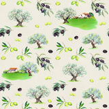 Rami di ulivo, di olivi, case provencal Modello senza cuciture francese Acquerello della Provenza illustrazione vettoriale