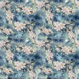 rami di un albero sbocciante watercolor wallpaper Reticolo senza giunte Fotografia Stock Libera da Diritti