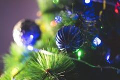 Rami di verde del ` s del nuovo anno di un abete, con dei i giocattoli colorati multi allegri Immagine Stock