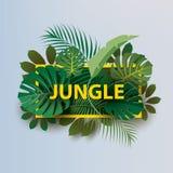 """Rami pagina delle piante tropicali con l'iscrizione """"GIUNGLA """" illustrazione di stock"""