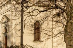 Rami sulla finestra della chiesa di secolo dell'italiano XVII Fotografie Stock Libere da Diritti