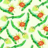 Ramifica com fruto e ela do dragão a flor do ` s, fundo amarelo macio do projeto sem emenda do teste padrão ilustração do vetor