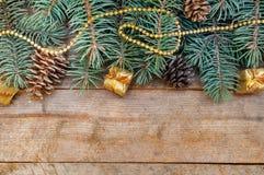 Ramifica el árbol mullido con la Navidad de las decoraciones Fotografía de archivo libre de regalías