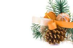 Ramificación adornada del árbol de navidad Fotografía de archivo