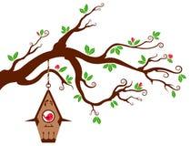 Ramificación de árbol con el birdhouse moderno stock de ilustración