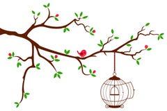 Ramificación de árbol con la jaula de pájaros redondeada stock de ilustración