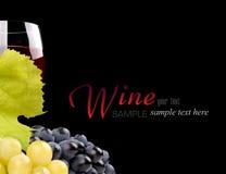 Ramificación de uvas y del vidrio de vino Fotos de archivo libres de regalías