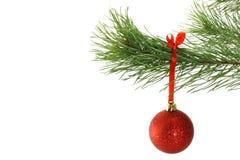 Ramificación del abeto y de las bolas de la Navidad Fotografía de archivo