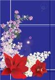 Ramificaciones de la lila y lirios rojos en azul Fotografía de archivo