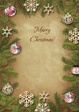 Ramificaciones de un árbol de navidad con los juguetes del piel-árbol Fotografía de archivo libre de regalías