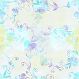 Ramifichi con i fiori e le foglie del pisello dolce su un acquerello indietro Fotografia Stock