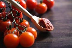 Ramifichi con i pomodori ciliegia freschi Pomodori rossi maturi Pomodori A Fotografia Stock