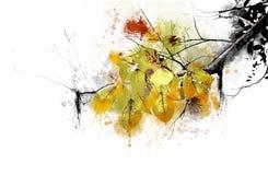Ramifichi con le foglie che gialle la pittura spruzza Fotografie Stock