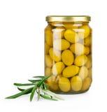 Ramifique com azeitonas e um frasco do petróleo verde-oliva Imagens de Stock Royalty Free