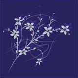 Ramifique com flores em um fundo azul Fotografia de Stock Royalty Free