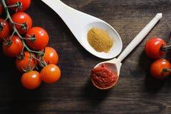 Ramifique com os tomates de cereja frescos Tomates vermelhos maduros Tomates A Imagem de Stock