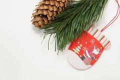 Ramifique com pinho do cone e ornamento do Natal Imagem de Stock