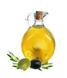 Ramifique con las aceitunas y la botella de aceite de oliva Fotografía de archivo libre de regalías