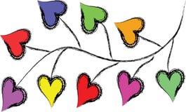 Ramifique con las hojas en corazones de la forma Imágenes de archivo libres de regalías