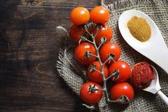 Ramifique con los tomates de cereza frescos Tomates rojos maduros Tomates A Foto de archivo