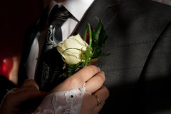 Ramillete de la boda en la solapa de la chaqueta del novio Fotos de archivo libres de regalías