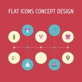 Ramillete plano de los iconos, símbolo de la sexualidad, carro y otros elementos del vector El sistema de símbolos planos de los  Imagenes de archivo