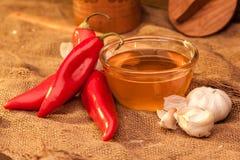 Ramiro pepper, honey and garlic Stock Images