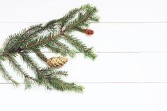 Ramita Spruce con los conos en el fondo de madera blanco Año Nuevo, la Navidad Imagen entonada, efecto de la película Imagen de archivo