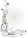 Ramita y flor de la esquina por de la red del volumen ilustración del vector