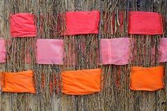 Ramitas con las cintas anaranjadas, rosadas y coralinas anchas entretejidas del fieltro Imagenes de archivo