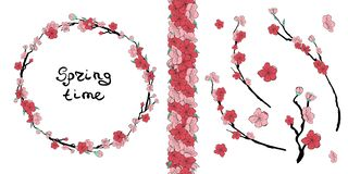 Ramki-Rosa Kirschblüte stock abbildung