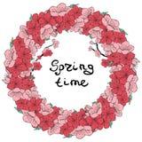 Ramki rosa sakura stock illustrationer