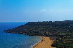Ramla bay - beautiful sandy beach on the Maltese island of Gozo. Malta is an european island state stock image