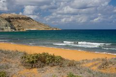 Ramla Bay, Gozo. A beautiful beach on Gozo, Malta Stock Photos