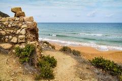 Ramla bay, Gozo.  Seascape. Malta, Ramla bay famous for its dark orange sandy beach, Gozo island Royalty Free Stock Photo