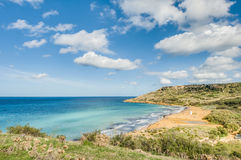 Ramla fjärd, på den nordliga sidan av Gozo, Malta Royaltyfria Foton